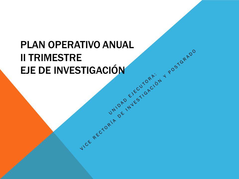 PLAN OPERATIVO ANUAL II TRIMESTRE EJE DE INVESTIGACIÓN UNIDAD EJECUTORA: VICE RECTORÍA DE INVESTIGACIÓN Y POSTGRADO
