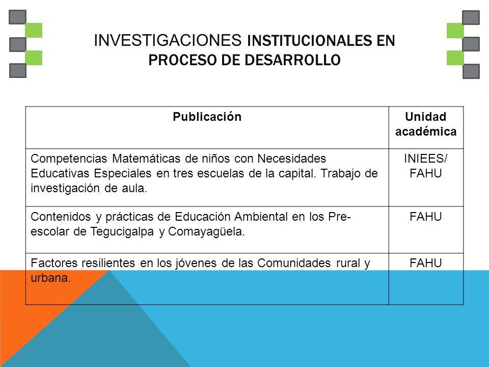 INVESTIGACIONES INSTITUCIONALES EN PROCESO DE DESARROLLO PublicaciónUnidad académica Competencias Matemáticas de niños con Necesidades Educativas Especiales en tres escuelas de la capital.