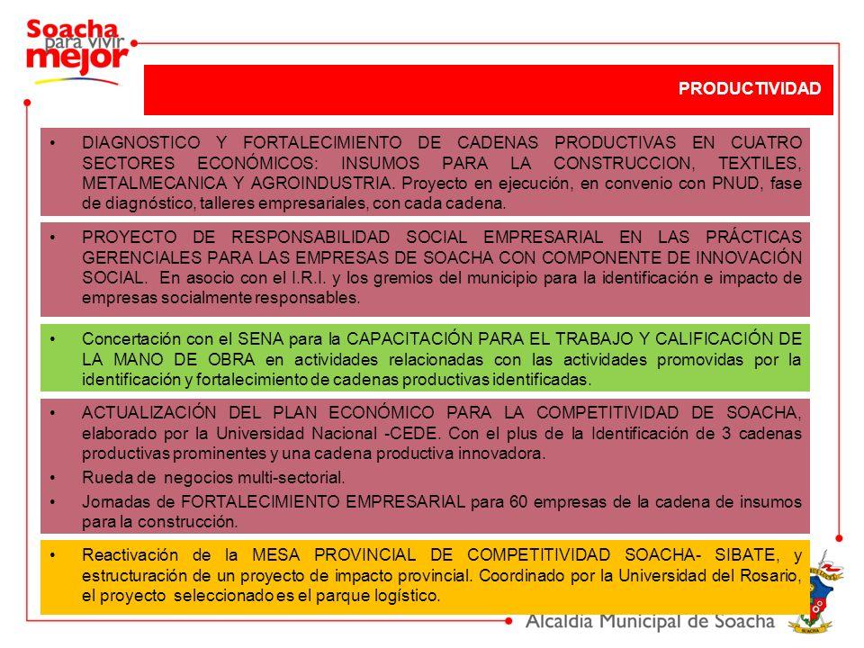 DIAGNOSTICO Y FORTALECIMIENTO DE CADENAS PRODUCTIVAS EN CUATRO SECTORES ECONÓMICOS: INSUMOS PARA LA CONSTRUCCION, TEXTILES, METALMECANICA Y AGROINDUST