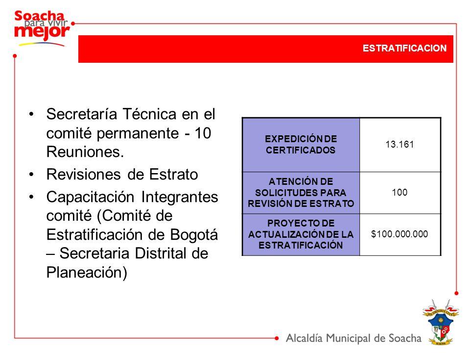 Secretaría Técnica en el comité permanente - 10 Reuniones. Revisiones de Estrato Capacitación Integrantes comité (Comité de Estratificación de Bogotá