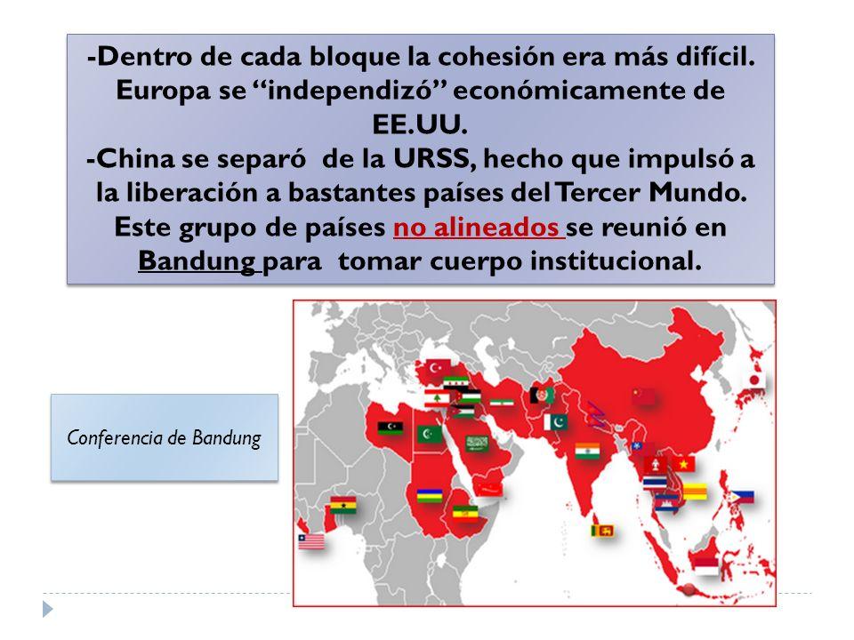 -Dentro de cada bloque la cohesión era más difícil. Europa se independizó económicamente de EE.UU. -China se separó de la URSS, hecho que impulsó a la
