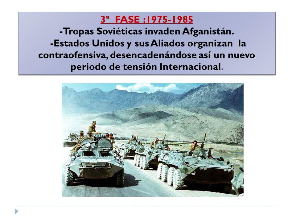 3ª FASE :1975-1985 -Tropas Soviéticas invaden Afganistán. -Estados Unidos y sus Aliados organizan la contraofensiva, desencadenándose así un nuevo per