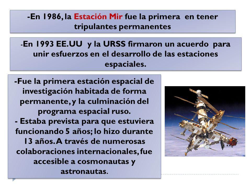 - En 1993 EE.UU y la URSS firmaron un acuerdo para unir esfuerzos en el desarrollo de las estaciones espaciales. -Fue la primera estación espacial de