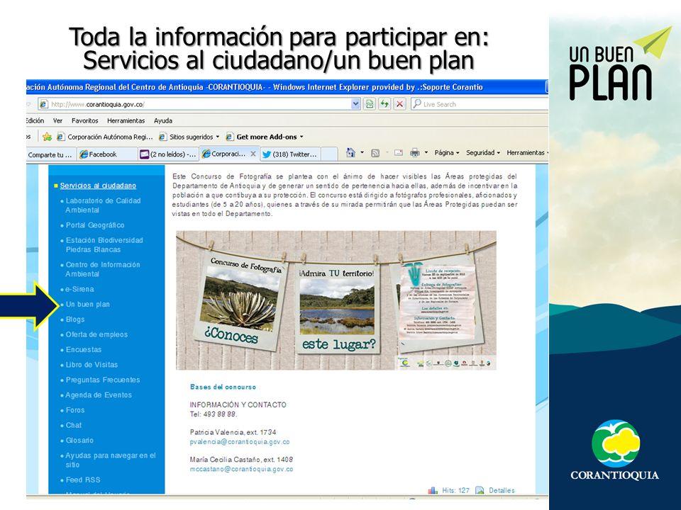 Toda la información para participar en: Servicios al ciudadano/un buen plan