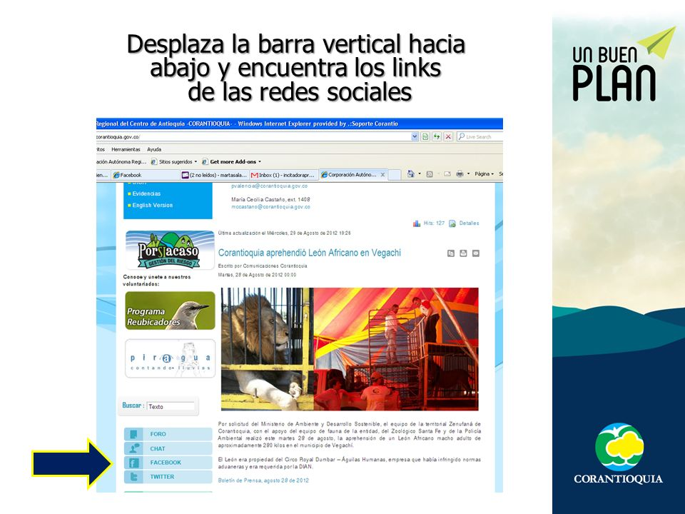 Desplaza la barra vertical hacia abajo y encuentra los links de las redes sociales de las redes sociales