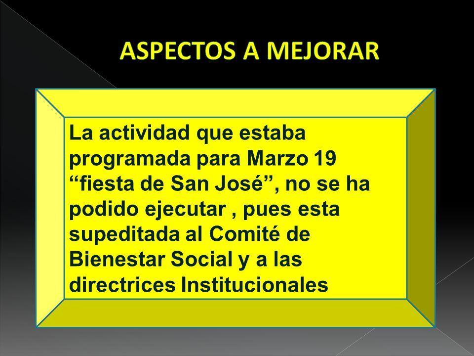 La actividad que estaba programada para Marzo 19 fiesta de San José, no se ha podido ejecutar, pues esta supeditada al Comité de Bienestar Social y a las directrices Institucionales.