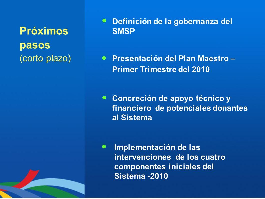 Próximos pasos (corto plazo) Presentación del Plan Maestro – Primer Trimestre del 2010 Concreción de apoyo técnico y financiero de potenciales donante
