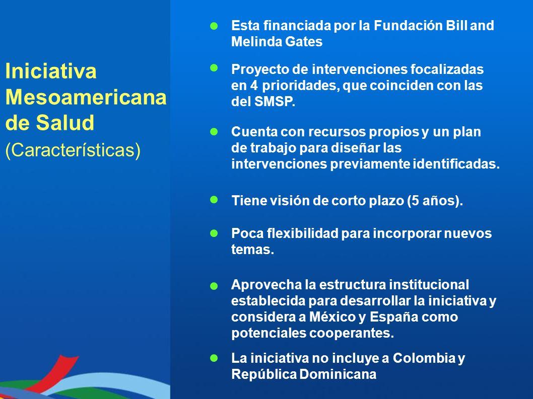 Iniciativa Mesoamericana de Salud (Características) Esta financiada por la Fundación Bill and Melinda Gates Proyecto de intervenciones focalizadas en