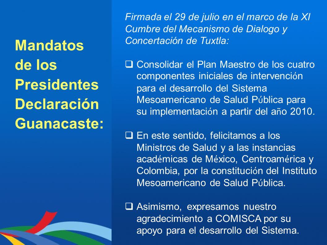Mandatos de los Presidentes Declaración Guanacaste: Firmada el 29 de julio en el marco de la XI Cumbre del Mecanismo de Dialogo y Concertación de Tuxt