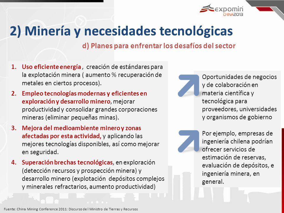 2) Minería y necesidades tecnológicas d) Planes para enfrentar los desafíos del sector 1.Uso eficiente energía, creación de estándares para la explotación minera ( aumento % recuperación de metales en ciertos procesos).