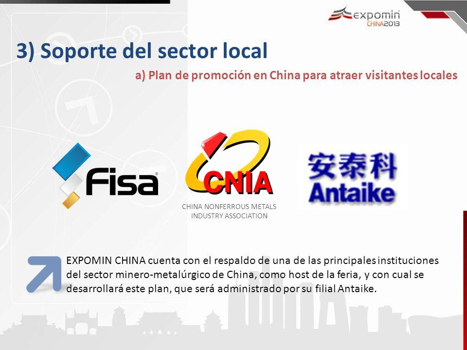 3) Soporte del sector local a) Plan de promoción en China para atraer visitantes locales EXPOMIN CHINA cuenta con el respaldo de una de las principales instituciones del sector minero-metalúrgico de China, como host de la feria, y con cual se desarrollará este plan, que será administrado por su filial Antaike.