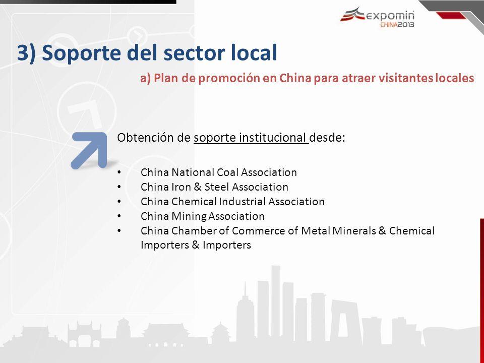 3) Soporte del sector local a) Plan de promoción en China para atraer visitantes locales Obtención de soporte institucional desde: China National Coal