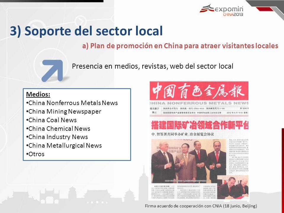3) Soporte del sector local a) Plan de promoción en China para atraer visitantes locales Presencia en medios, revistas, web del sector local Medios: C