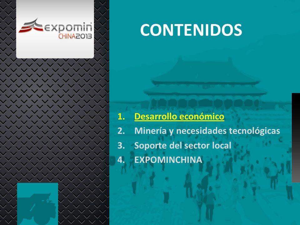 CONTENIDOS 1.Desarrollo económico 2.Minería y necesidades tecnológicas 3.Soporte del sector local 4.EXPOMINCHINA