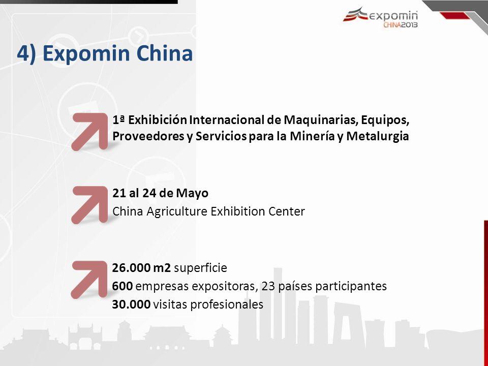 4) Expomin China 1ª Exhibición Internacional de Maquinarias, Equipos, Proveedores y Servicios para la Minería y Metalurgia 21 al 24 de Mayo China Agri