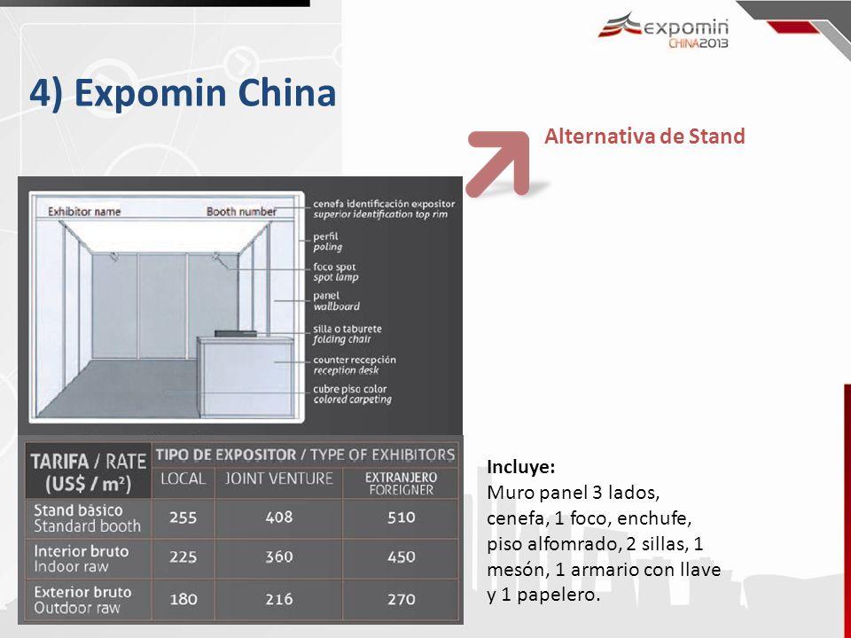 4) Expomin China Incluye: Muro panel 3 lados, cenefa, 1 foco, enchufe, piso alfomrado, 2 sillas, 1 mesón, 1 armario con llave y 1 papelero. Alternativ