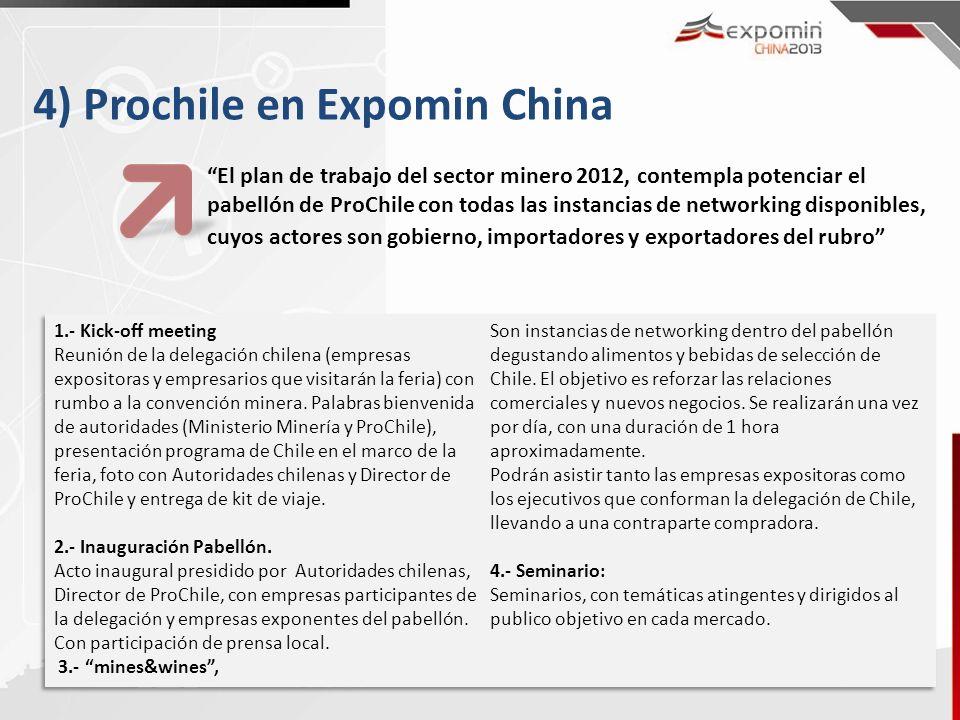 4) Prochile en Expomin China El plan de trabajo del sector minero 2012, contempla potenciar el pabellón de ProChile con todas las instancias de networ
