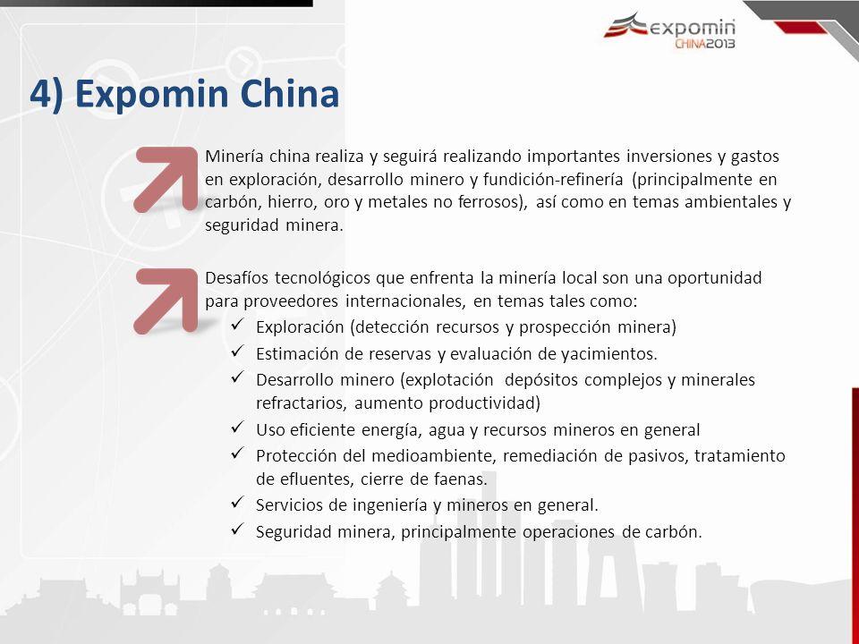 4) Expomin China Minería china realiza y seguirá realizando importantes inversiones y gastos en exploración, desarrollo minero y fundición-refinería (principalmente en carbón, hierro, oro y metales no ferrosos), así como en temas ambientales y seguridad minera.
