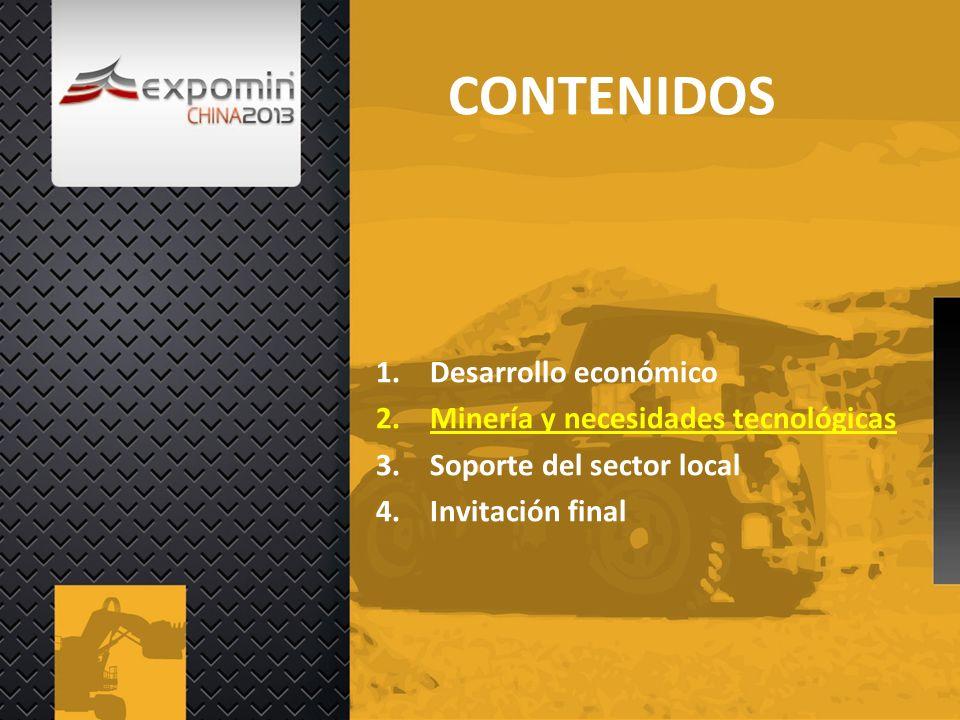 CONTENIDOS 1.Desarrollo económico 2.Minería y necesidades tecnológicas 3.Soporte del sector local 4.Invitación final