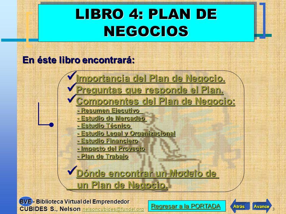 2 VER INDICE LIBRO 4 VER INDICE LIBRO 4 Atrás Avance BVE - Biblioteca Virtual del Emprendedor CUBIDES S., Nelson nelsoncubides@fundel.org nelsoncubide