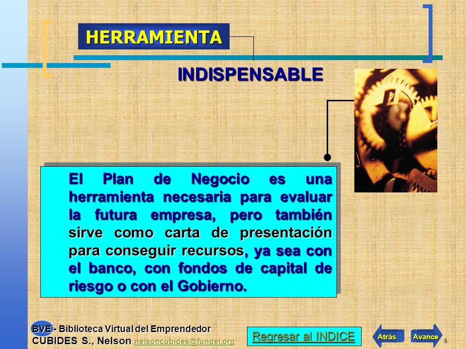 6 INDISPENSABLE HERRAMIENTA El Plan de Negocio es una herramienta necesaria para evaluar la futura empresa, pero también sirve como carta de presentación para conseguir recursos, ya sea con el banco, con fondos de capital de riesgo o con el Gobierno.
