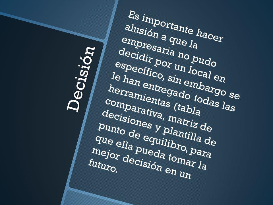 Decisión Es importante hacer alusión a que la empresaria no pudo decidir por un local en específico, sin embargo se le han entregado todas las herrami