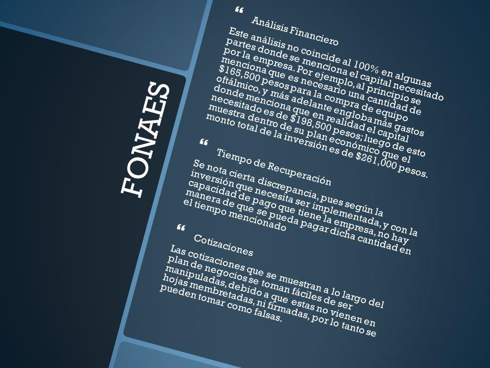 FONAES Análisis Financiero Este análisis no coincide al 100% en algunas partes donde se menciona el capital necesitado por la empresa. Por ejemplo, al