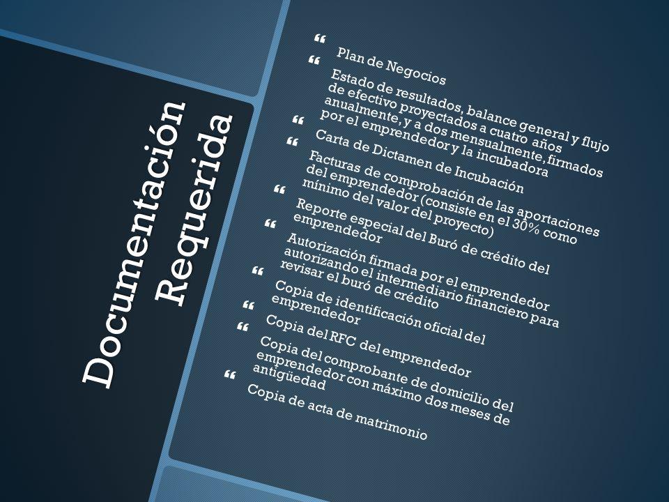 Documentación Requerida Plan de Negocios Estado de resultados, balance general y flujo de efectivo proyectados a cuatro años anualmente, y a dos mensu
