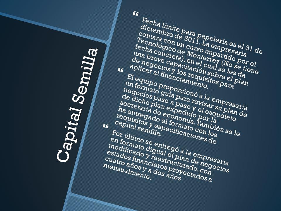 Capital Semilla Fecha límite para papelería es el 31 de diciembre de 2011. La empresaria contara con un curso impartido por el Tecnológico de Monterre