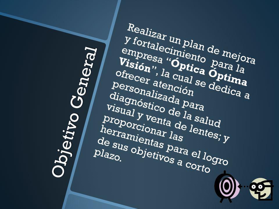 Objetivo General Realizar un plan de mejora y fortalecimiento para la empresa Óptica Óptima Visión, la cual se dedica a ofrecer atención personalizada