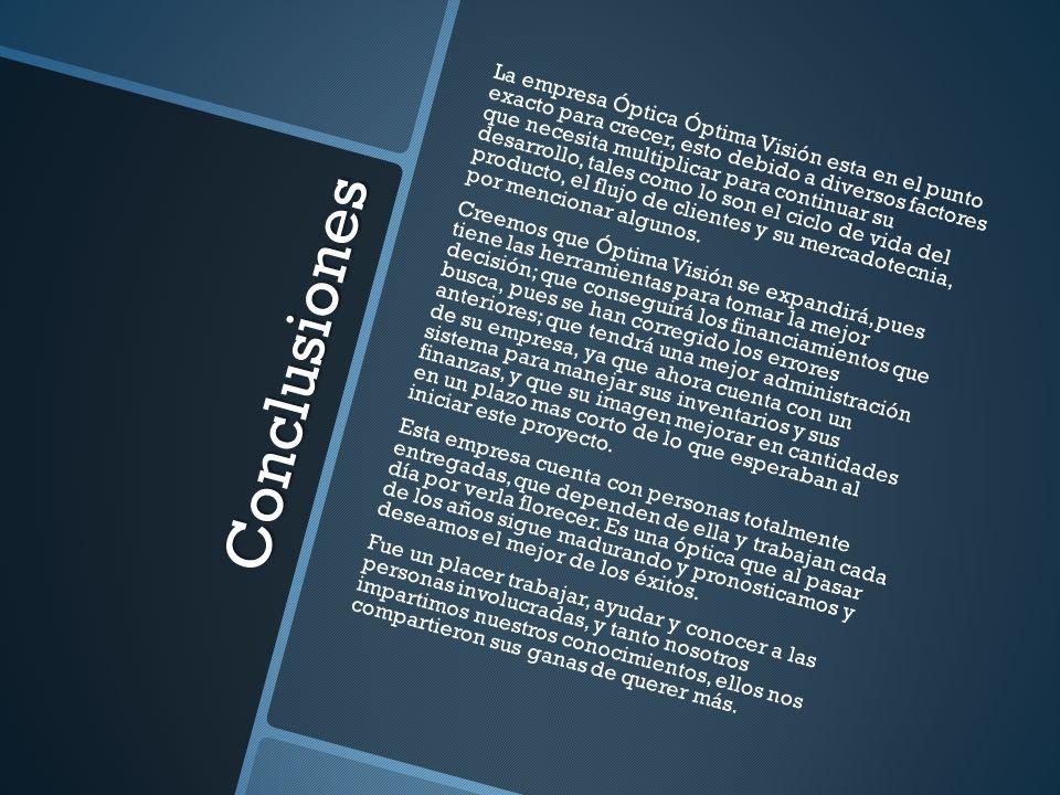 Conclusiones La empresa Óptica Óptima Visión esta en el punto exacto para crecer, esto debido a diversos factores que necesita multiplicar para contin