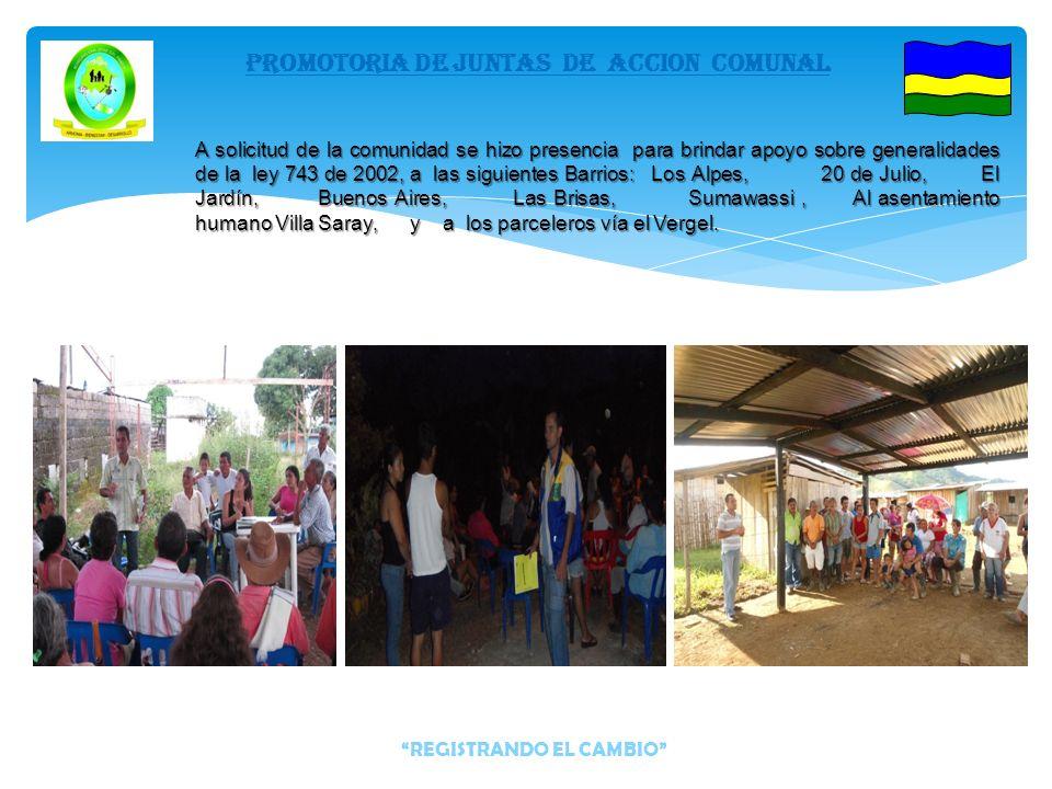 Se hizo presencia para brindar apoyo sobre generalidades de la ley 743 de 2002, a las siguientes veredas: Las Palmeras, Bocana Luna, La Unión, Las Igl