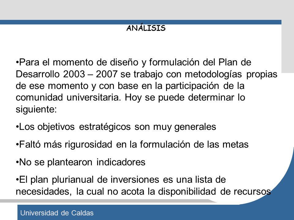 Universidad de Caldas ANÁLISIS Para el momento de diseño y formulación del Plan de Desarrollo 2003 – 2007 se trabajo con metodologías propias de ese m