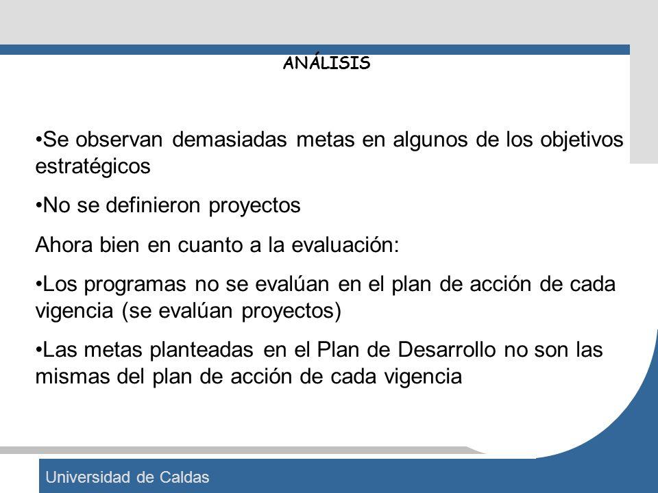 Universidad de Caldas ANÁLISIS Se observan demasiadas metas en algunos de los objetivos estratégicos No se definieron proyectos Ahora bien en cuanto a