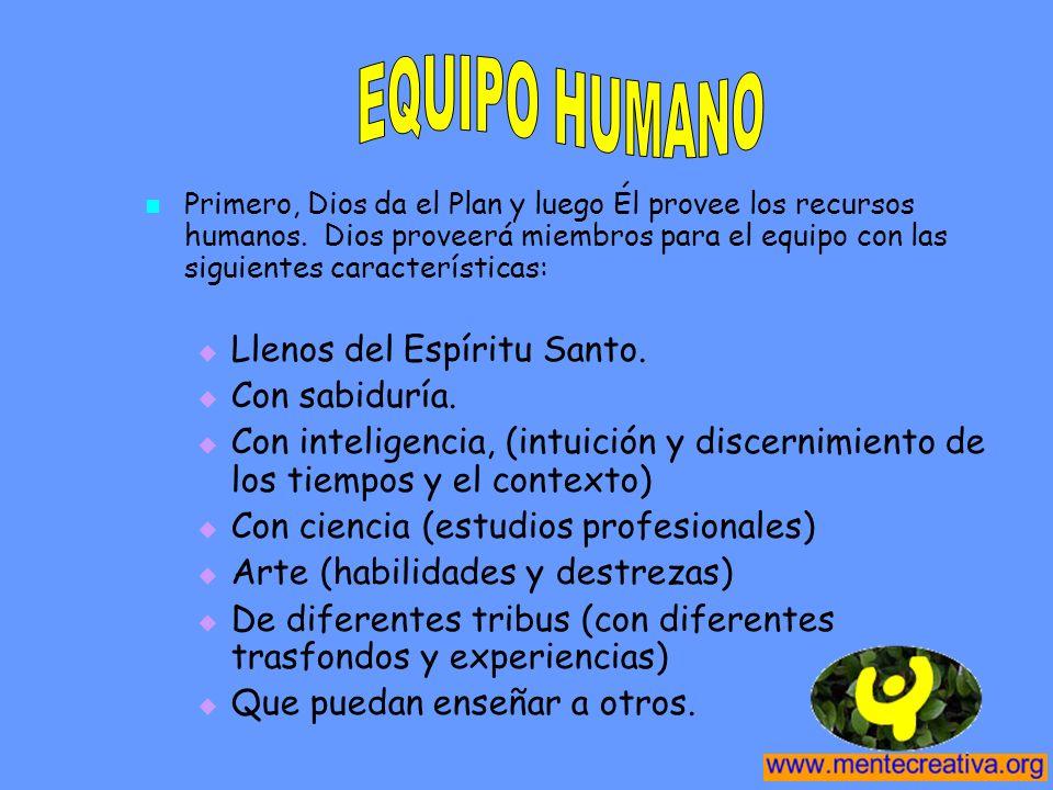 Primero, Dios da el Plan y luego Él provee los recursos humanos. Dios proveerá miembros para el equipo con las siguientes características: Llenos del