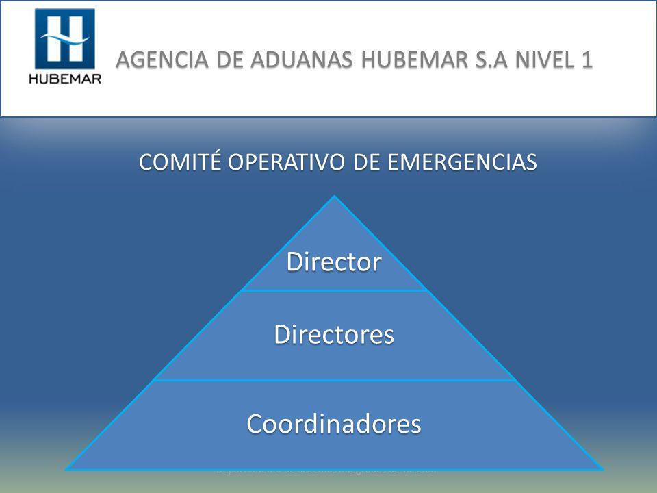 Departamento de Sistemas Integrados de Gestión COMITÉ OPERATIVO DE EMERGENCIAS DirectorDirectores Coordinadores
