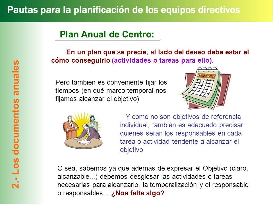 Plan Anual de Centro: En un plan que se precie, al lado del deseo debe estar el cómo conseguirlo (actividades o tareas para ello).