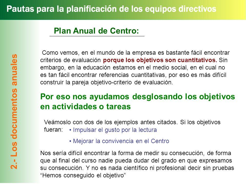 Plan Anual de Centro: Como vemos, en el mundo de la empresa es bastante fácil encontrar criterios de evaluación porque los objetivos son cuantitativos.