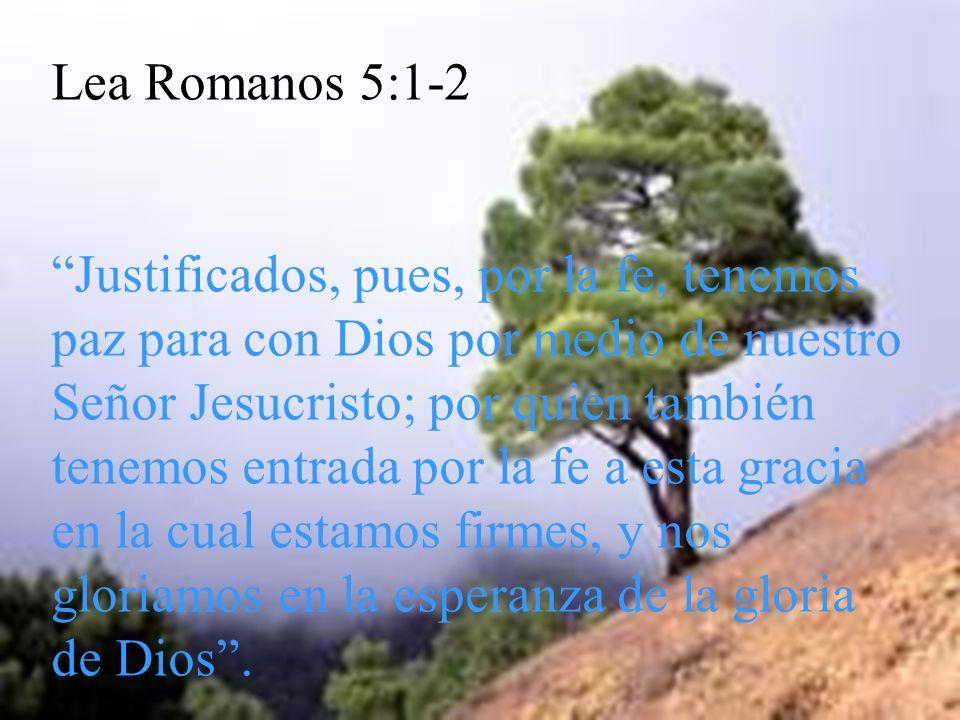 Lea Romanos 5:1-2 Justificados, pues, por la fe, tenemos paz para con Dios por medio de nuestro Señor Jesucristo; por quien también tenemos entrada po