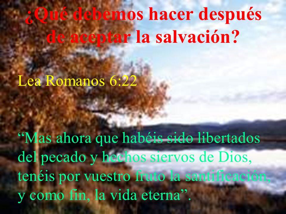 ¿Qué debemos hacer después de aceptar la salvación? Lea Romanos 6:22 Mas ahora que habéis sido libertados del pecado y hechos siervos de Dios, tenéis