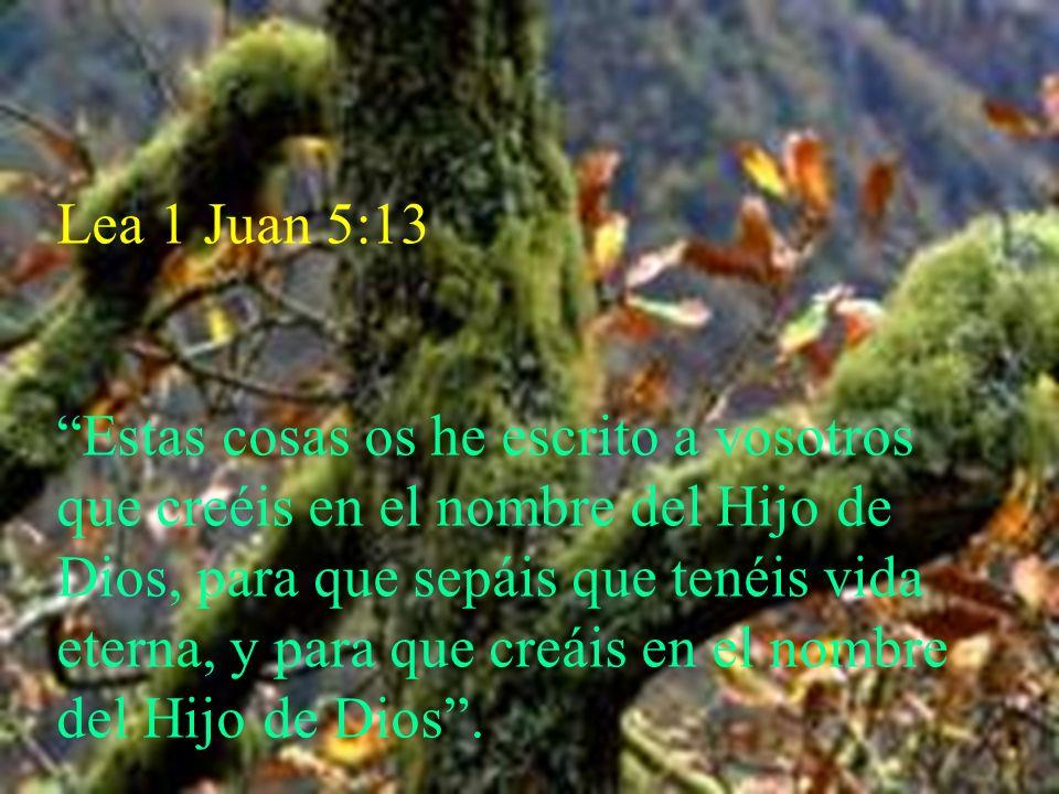 Lea 1 Juan 5:13 Estas cosas os he escrito a vosotros que creéis en el nombre del Hijo de Dios, para que sepáis que tenéis vida eterna, y para que creá