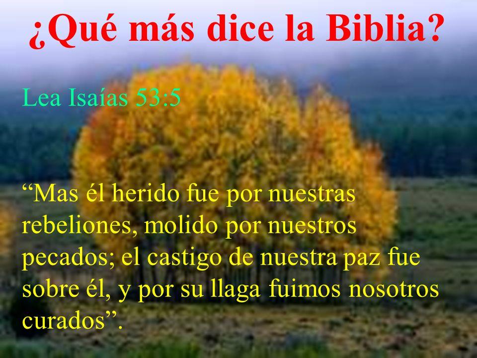 ¿Qué más dice la Biblia? Lea Isaías 53:5 Mas él herido fue por nuestras rebeliones, molido por nuestros pecados; el castigo de nuestra paz fue sobre é