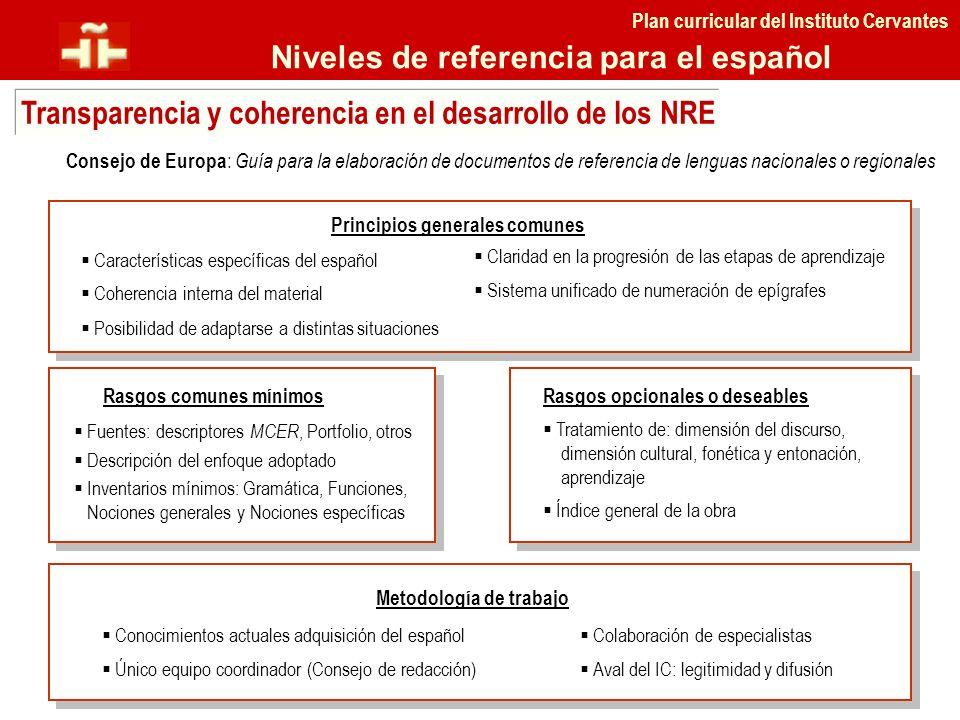 Plan curricular del Instituto Cervantes Niveles de referencia para el español Transparencia y coherencia en el desarrollo de los NRE Consejo de Europa