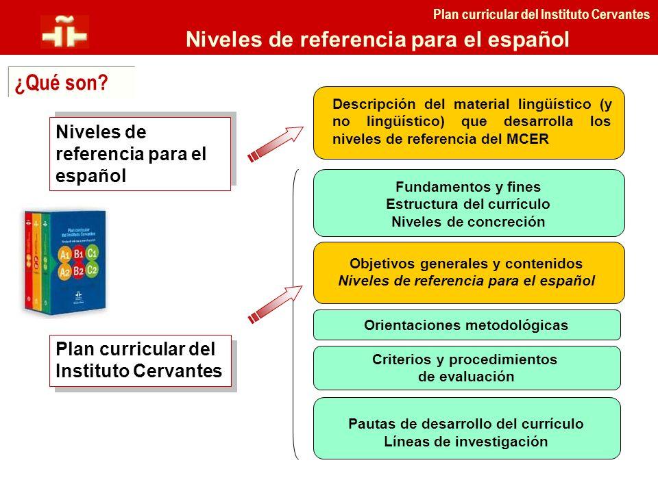 Plan curricular del Instituto Cervantes Niveles de referencia para el español ¿Qué son? Niveles de referencia para el español Plan curricular del Inst