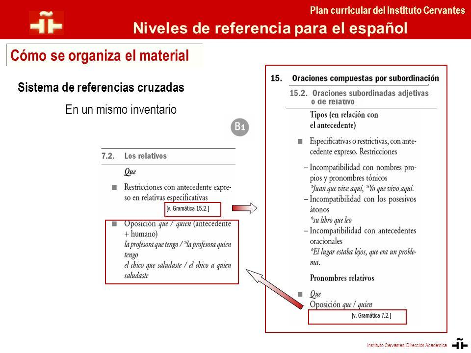 Sistema de referencias cruzadas En un mismo inventario Plan curricular del Instituto Cervantes Niveles de referencia para el español Cómo se organiza
