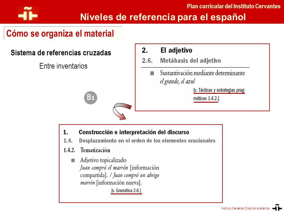 Sistema de referencias cruzadas Entre inventarios Plan curricular del Instituto Cervantes Niveles de referencia para el español Cómo se organiza el ma