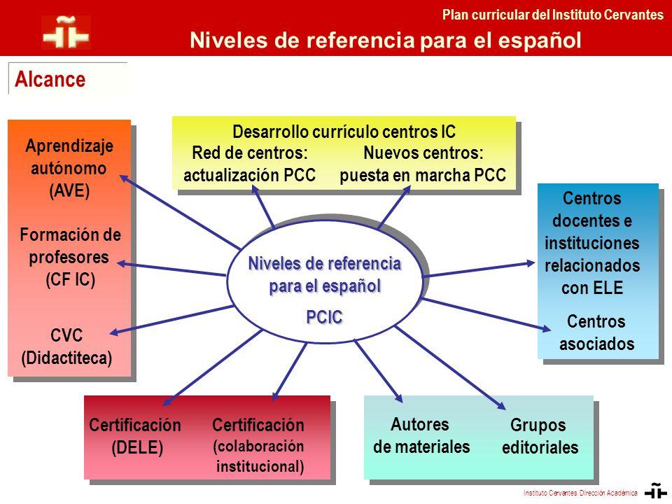 Desarrollo currículo centros IC Aprendizaje autónomo (AVE) Formación de profesores (CF IC) Centros asociados Niveles de referencia para el español PCI