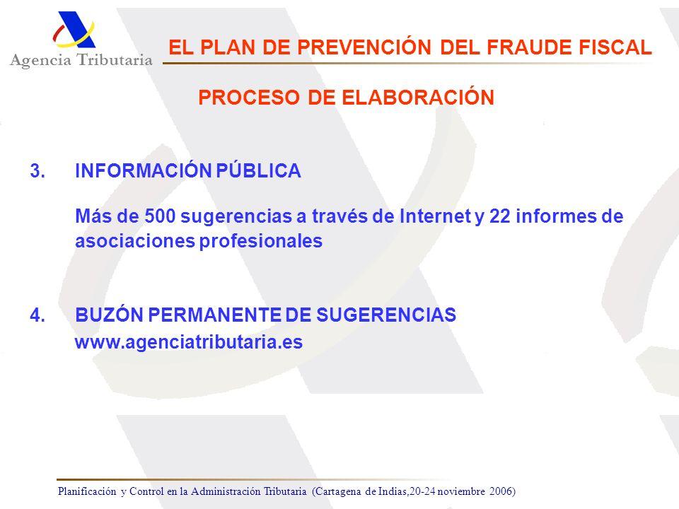 Planificación y Control en la Administración Tributaria (Cartagena de Indias,20-24 noviembre 2006) 3.INFORMACIÓN PÚBLICA Más de 500 sugerencias a trav