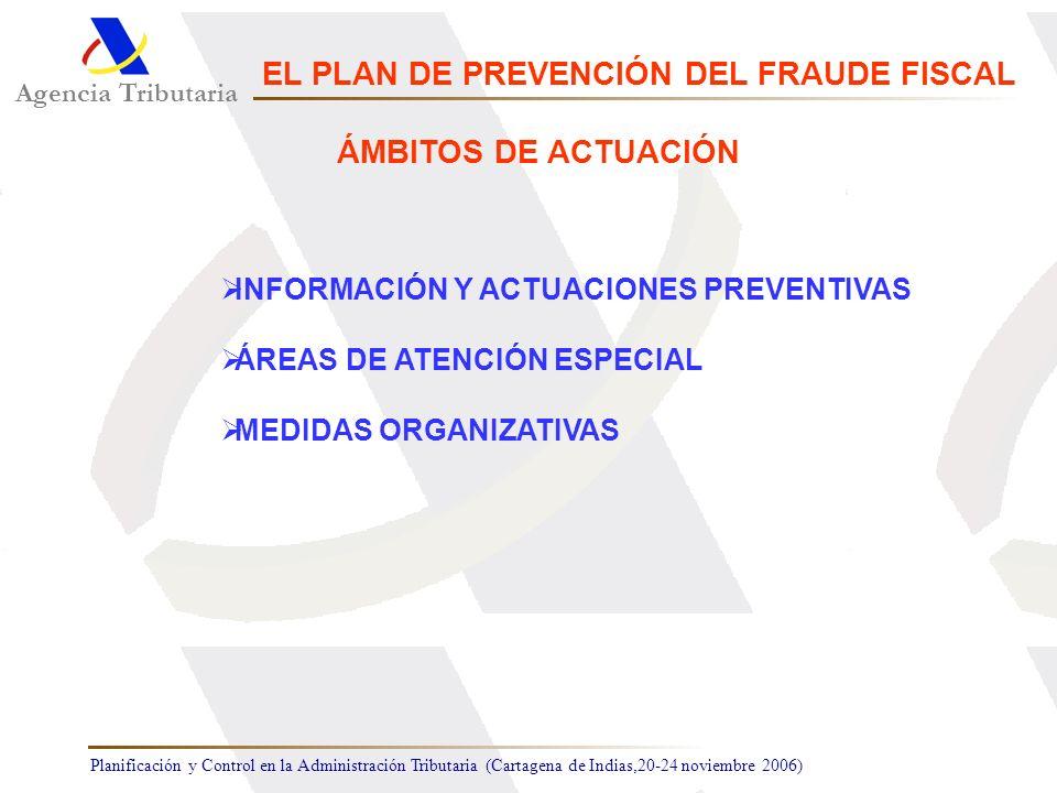 Planificación y Control en la Administración Tributaria (Cartagena de Indias,20-24 noviembre 2006) INFORMACIÓN Y ACTUACIONES PREVENTIVAS ÁREAS DE ATEN