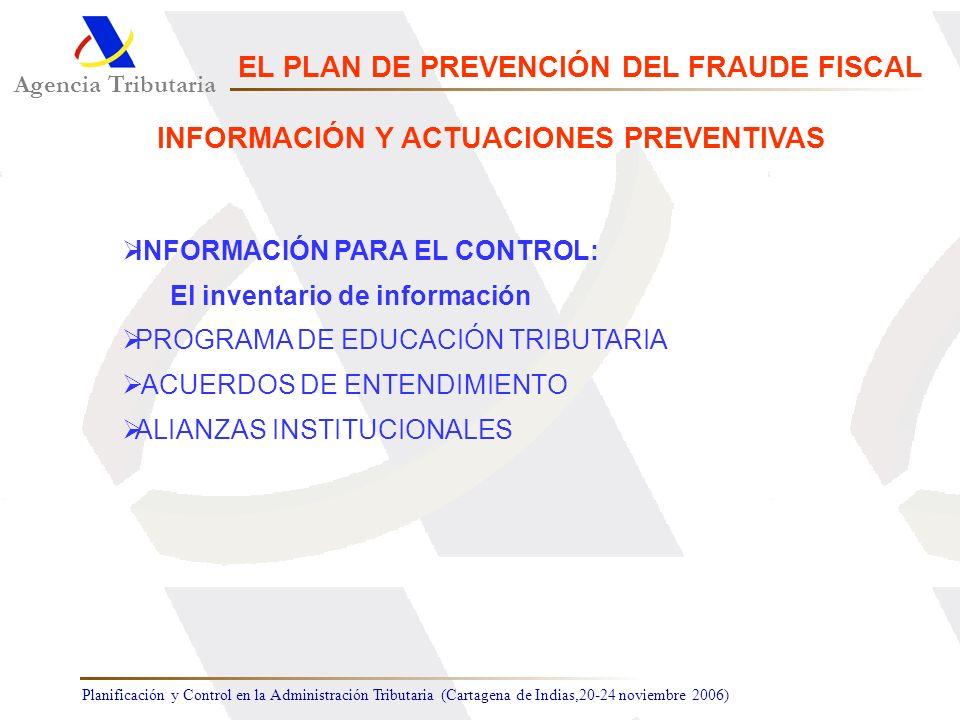Planificación y Control en la Administración Tributaria (Cartagena de Indias,20-24 noviembre 2006) INFORMACIÓN PARA EL CONTROL: El inventario de infor
